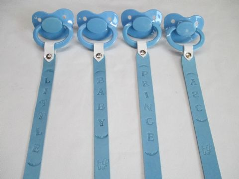 Sky Blue Leather Message clip holder strap with Large Shield/Teat Pacifier